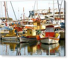 Boats On Santorini Acrylic Print