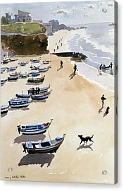 Boats On The Beach Acrylic Print by Lucy Willis