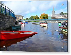 Acrylic Print featuring the photograph Boats On The Garavogue by Charlie and Norma Brock