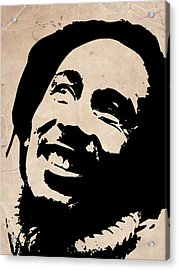 Bob Marley Grey And Black Acrylic Print by Naxart Studio