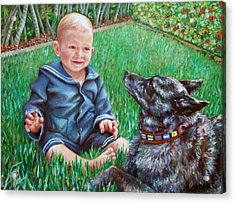 Acrylic Print featuring the painting Bobby And Cinder by Nancy Tilles