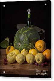 Bodegon - Watermelon-citrus And Cooler Acrylic Print by Levin Rodriguez