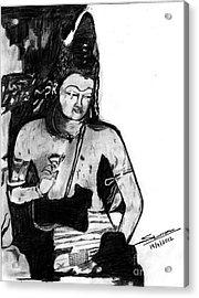 Bodhisatva Ajantha Cave Painting Acrylic Print by Shashi Kumar