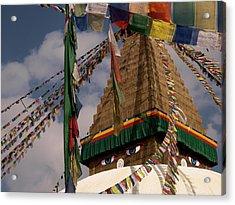 Bodnath Stupa Acrylic Print by Nina Papiorek