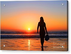 Bodysurfer At Dusk Acrylic Print by Sabino Cruz