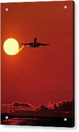 Boeing 747 Taking Off At Sunset Acrylic Print by David Nunuk