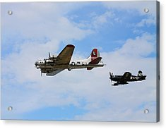 Bomber Escort Acrylic Print by Kevin Schrader