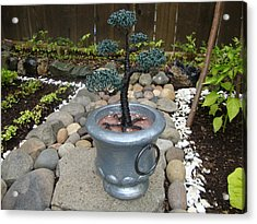 Bonsai Tree Medium Silver Vase Acrylic Print by Scott Faucett