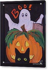 Boo-happy Halloween Acrylic Print by Janna Columbus