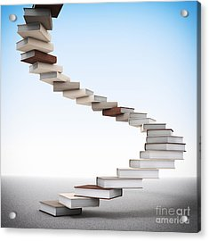 Book Stair Acrylic Print by Gualtiero Boffi