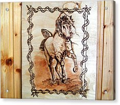 Born To Be Free-sylver  Horse Pyrography Acrylic Print by Egri George-Christian