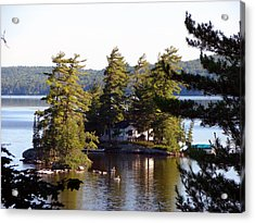 Acrylic Print featuring the mixed media Boshkung Lake Island Cottage by Bruce Ritchie