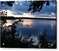 Acrylic Print featuring the mixed media Boshkung Lake Sunset by Bruce Ritchie