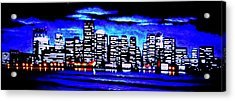 Boston By Black Light Acrylic Print by Thomas Kolendra