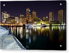 Boston Harbor Nightscape Acrylic Print by Shane Psaltis