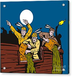 Boston Tea Party Raiders Retro Acrylic Print by Aloysius Patrimonio