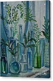 Acrylic Print featuring the painting Bottle Brigade by Julie Brugh Riffey