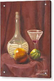 Bottle Glass And Fruits Acrylic Print by Bruce Lum