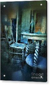 Bottle On Table In Abandoned House Acrylic Print by Jill Battaglia
