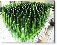 Bottles At A Wine Bottling Factory Acrylic Print by Ria Novosti