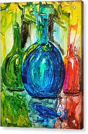 Bottles Acrylic Print by Mary Kay Holladay