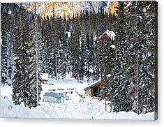 Bottom Of Ski Slope Acrylic Print by Lisa  Spencer