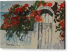 Bougainvillea At My Beach Cottage Acrylic Print by Jill Morris
