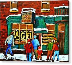 Boulangerie St.viateur Scene De Rue De Montreal En Hiver Acrylic Print by Carole Spandau
