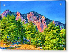 Acrylic Print featuring the digital art Boulder Flatirons by Brian Davis