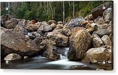 Boulders On The River Acrylic Print by Mark Lucey
