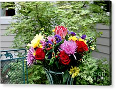 Bouquet Behind Her Bedroom Window  2 Acrylic Print by Tanya  Searcy