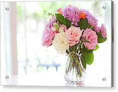 Bouquet Of Flowers On Table Near Window Acrylic Print by Jessica Holden Photography