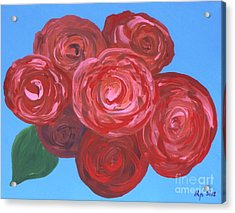 Acrylic Print featuring the painting Bouquet Of Roses by Alys Caviness-Gober