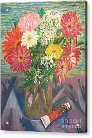 Bouquet With Paint Acrylic Print by Judy Via-Wolff