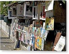 Bouquiniste Book Seller At Quays Of Seine Paris Acrylic Print by Bernard Jaubert