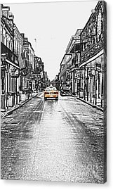 Bourbon St Taxi French Quarter New Orleans Color Splash Black And White Colored Pencil Digital Art Acrylic Print by Shawn O'Brien