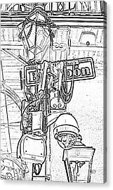 Bourbon Street Sign And Lamp Covered In Beads Black And White Photocopy Digital Art Acrylic Print by Shawn O'Brien