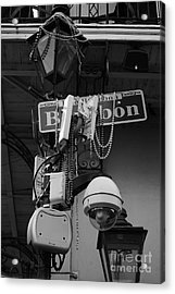 Bourbon Street Sign And Lamp Covered In Beads Black And White Acrylic Print by Shawn O'Brien