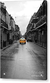 Bourbon Street Taxi Cab French Quarter New Orleans Color Splash Black And White Acrylic Print