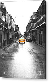 Bourbon Street Taxi French Quarter New Orleans Color Splash Black And White Film Grain Digital Art Acrylic Print by Shawn O'Brien