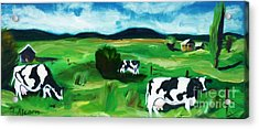 Acrylic Print featuring the painting Bovine Bliss by Therese Alcorn