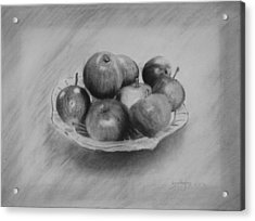 Acrylic Print featuring the drawing Bowl Of Apples by Lynn Hughes