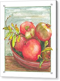 Acrylic Print featuring the painting Bowl Of Pomegranates by Terry Taylor