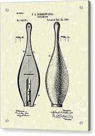 Bowling Pin 1895 Patent Art Acrylic Print by Prior Art Design