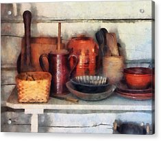 Bowls Basket And Wooden Spoons Acrylic Print by Susan Savad