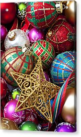 Box Of Christmas Ornaments With Star Acrylic Print by Garry Gay