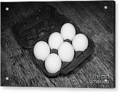 Box Of Half Dozen White Organic Fresh Eggs Acrylic Print by Joe Fox