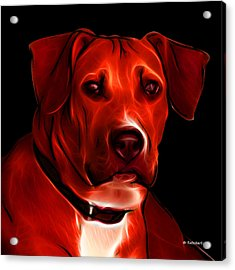 Boxer Pitbull Mix Pop Art - Red Acrylic Print by James Ahn