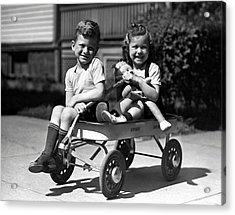 Boy & Girl On Wagon Acrylic Print by George Marks