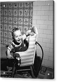 Boy (2-3) Sitting In High Chair,  (b&w), Portrait Acrylic Print by George Marks